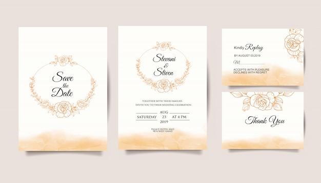 Set wedding invitation template with golden flower Premium Vector