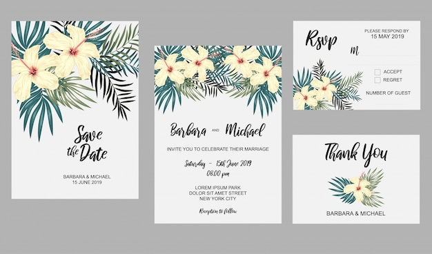 Set Of Wedding Invitation Template With Hibiscus Flower And Tropical