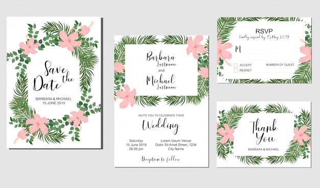 Set of wedding invitation template with tropical hibiscus bouquet Premium Vector