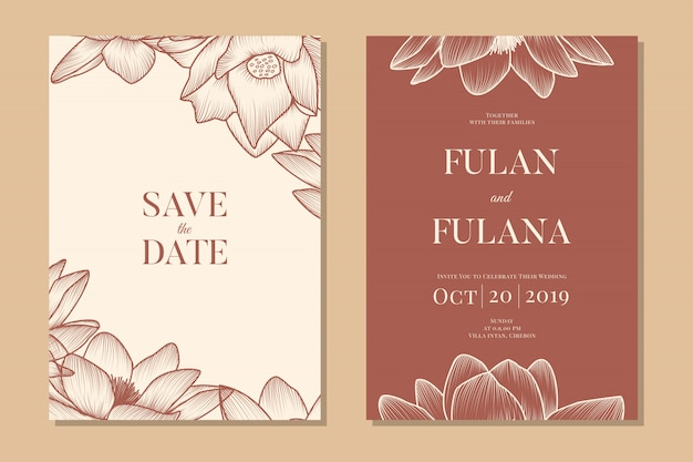 Set wedding invitation vip floral and flower romantic love template Premium Vector