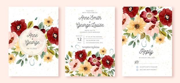 Set of wedding invitation with flower garden watercolor