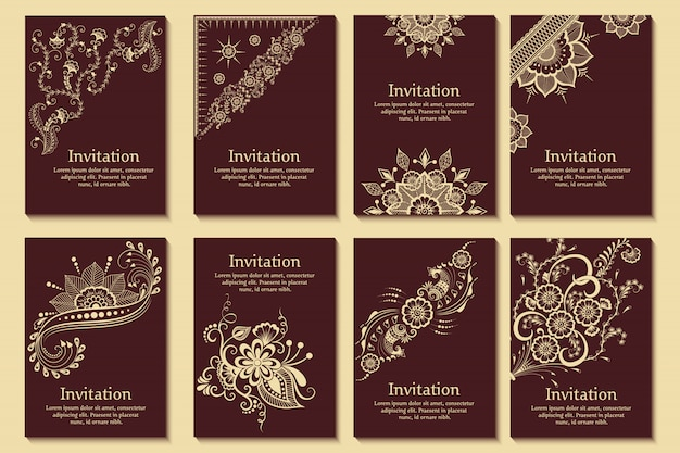 Set of wedding invitations and announcement cards with ornament in arabian style. arabesque pattern. Free Vector