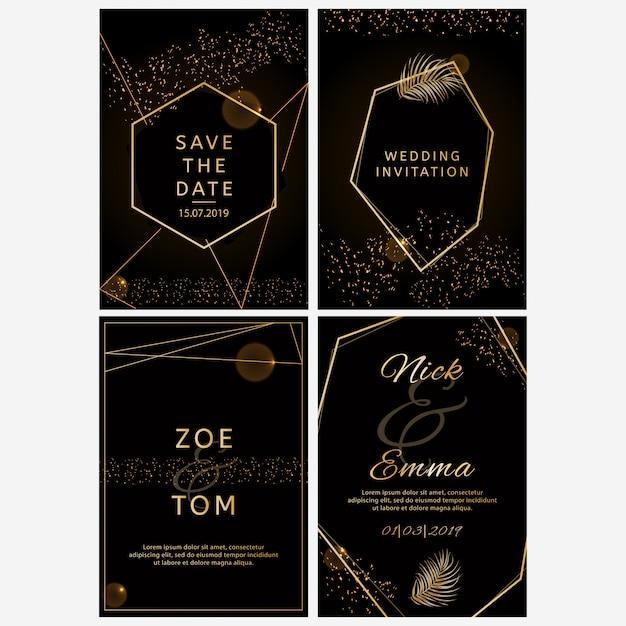 Set of wedding invitations. Premium Vector