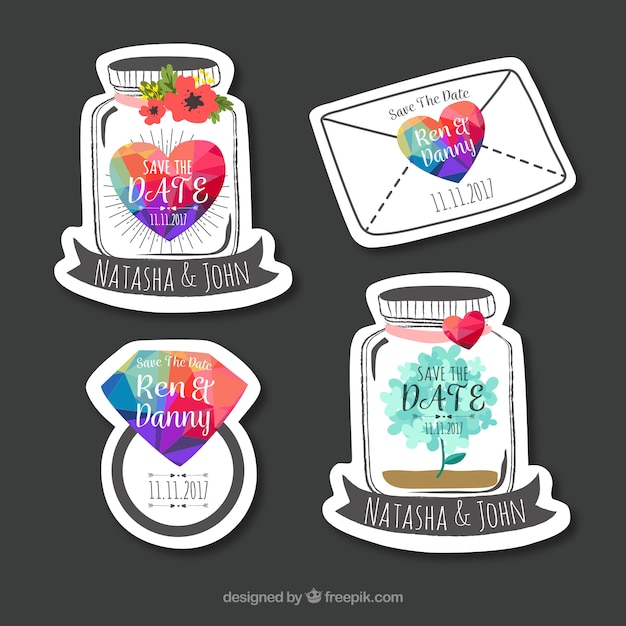 Set of wedding labels with fun style Free Vector