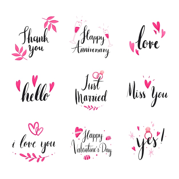 Set of wedding and love typography vectors Free Vector