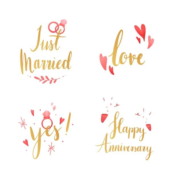 Set of wedding and love typography vectors Free Vector