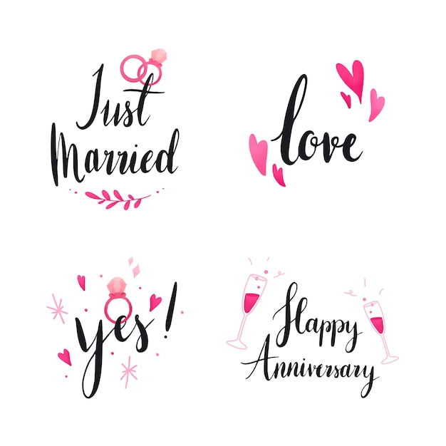 Set of wedding and love typography Free Vector