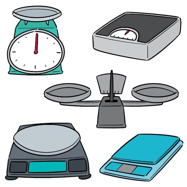 Set of weighing machine Premium Vector