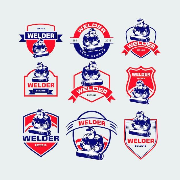 Set of welder logo Premium Vector
