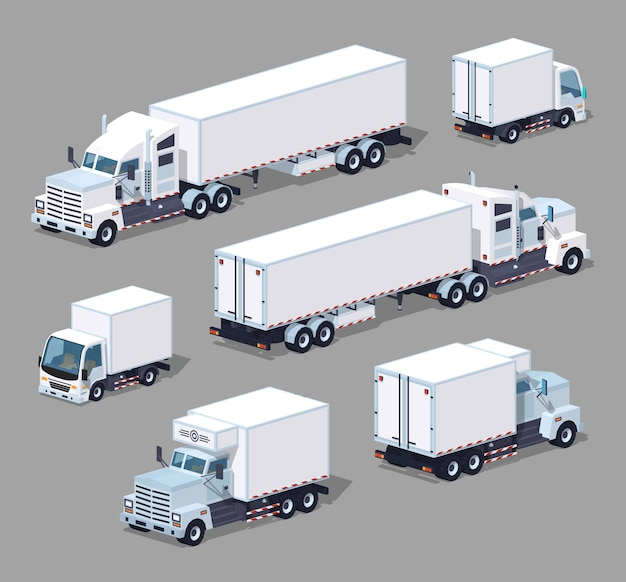 Set of the white 3d lowpoly isometric trucks Premium Vector