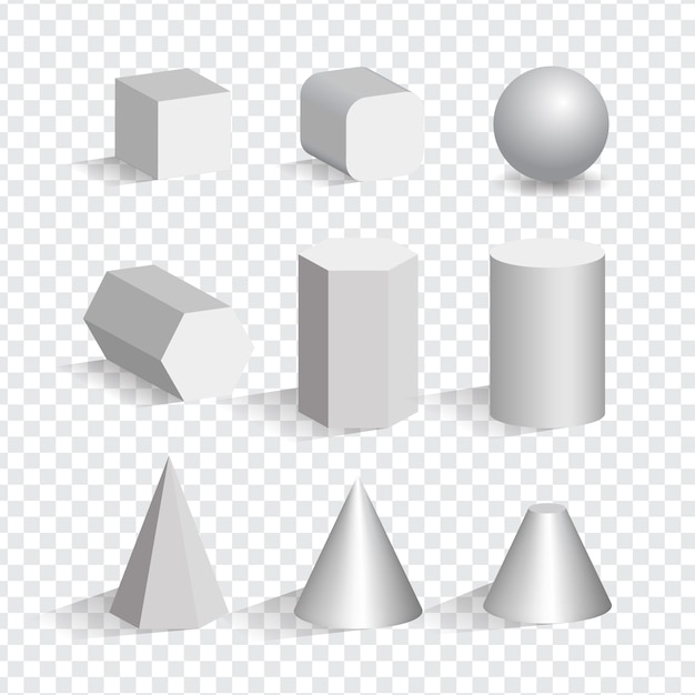 Set of the white 3d objects different shapes. cube, pyramid, cylinder, sphere, cone. Premium Vector