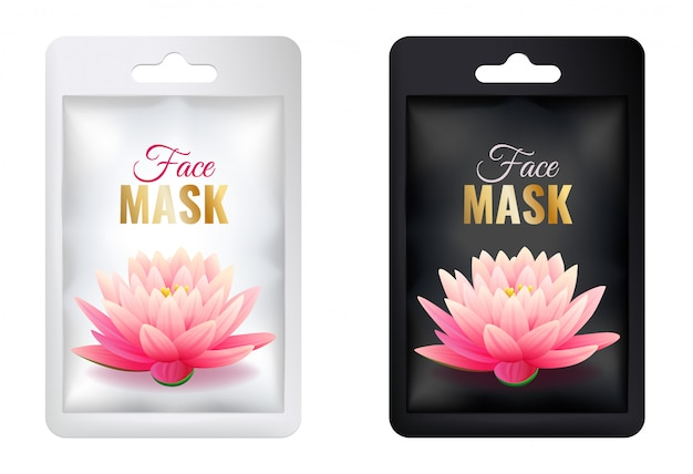 Set of white and black cosmetic facial mask package mock up, realistic individual sachet package with pink lotus, isolated on white background vector illustration Premium Vector