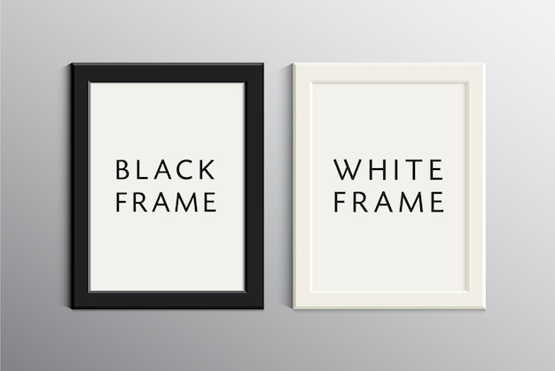 Set of white and black empty frames. realistic 3d illustration with shadows Premium Vector