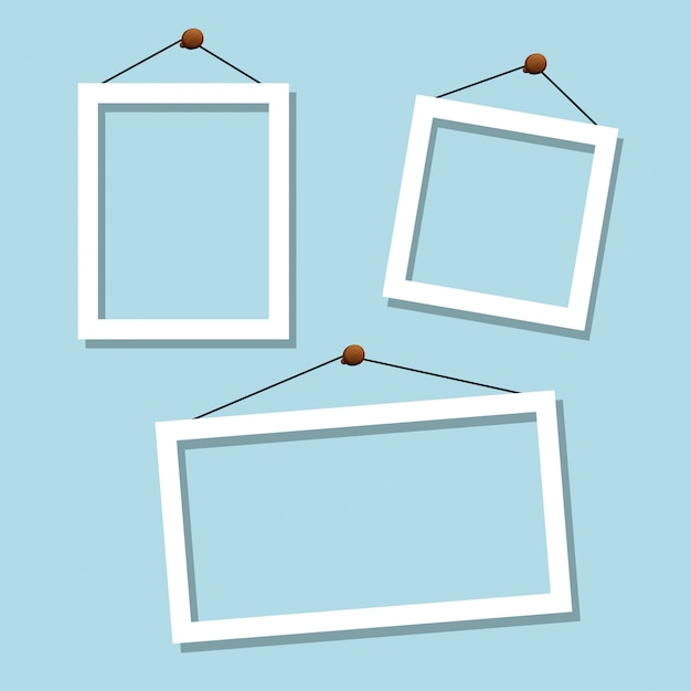 Set of white blue frames Free Vector