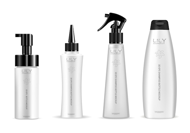 Set of white cosmetic bottle for hair care product Premium Vector