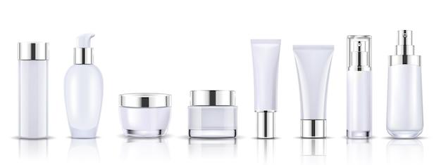 Set white cosmetic bottles packaging mock up Premium Vector