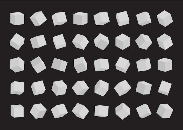 Set of white cubes.  illustration. Premium Vector