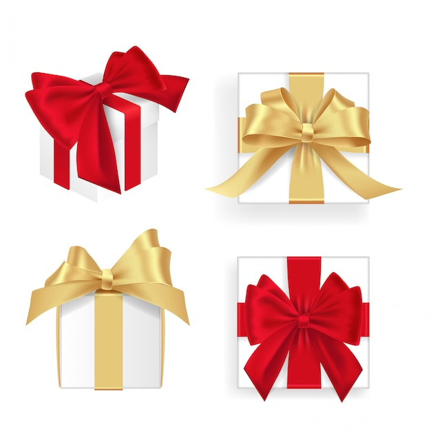 Set of white gift boxes red and golden ribbon. lots of presents. flat decoration collection. realistic  illustration set of gift box Premium Vector