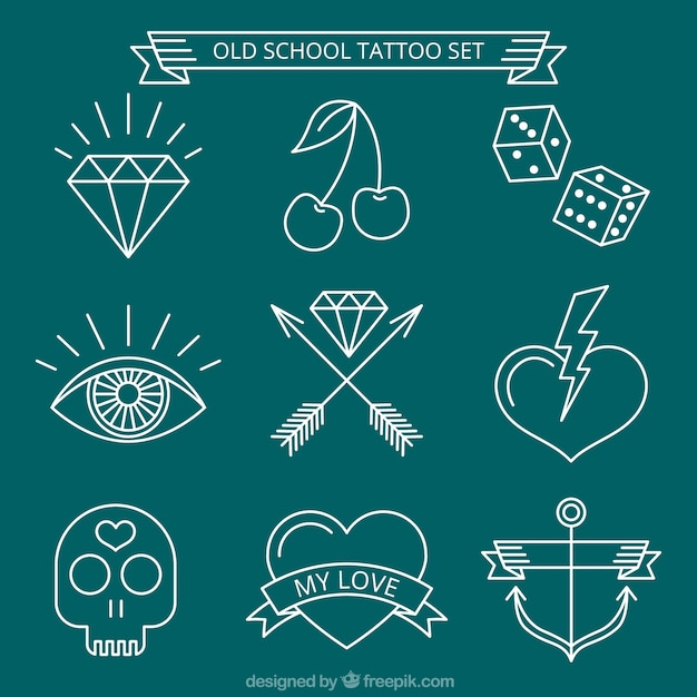 Set of white hand-drawn tattoos Free Vector