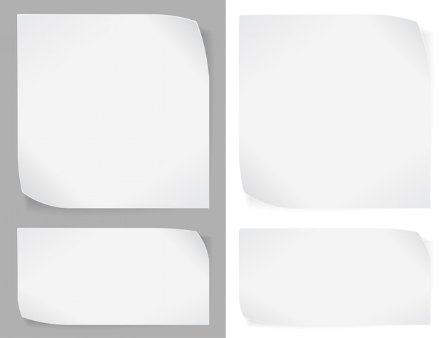 Set of white paper stickers over gray and whites. Premium Vector