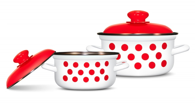 Set of white pots with a pattern of red peas. cooking. kitchen utensils Premium Vector