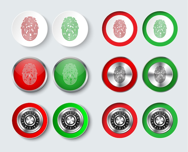 Set of white, red and green round buttons with a fingerprint and a mechanical combination lock for information protection Premium Vector