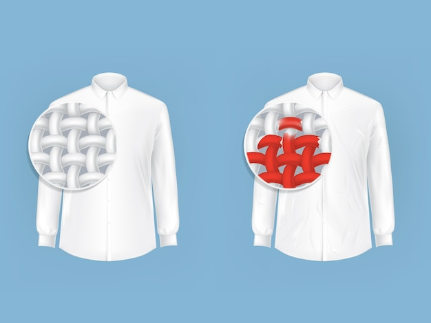 Set of white shirts with magnifying glass. Free Vector