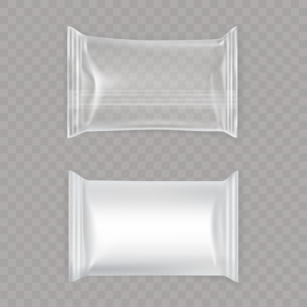 Set of white and transparent plastic bags. Free Vector