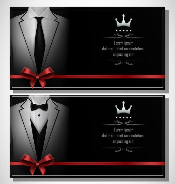 Set of white tuxedo business card template Premium Vector
