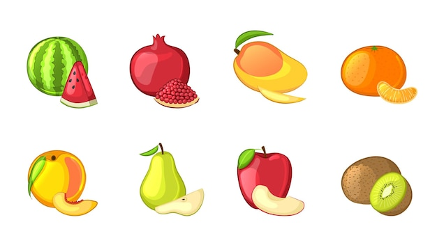 Set of whole and sliced fruits Premium Vector