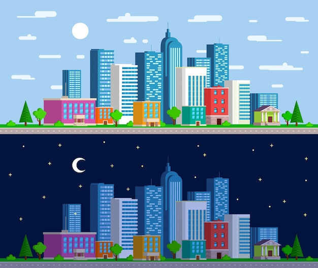 Set of wide panoramas  the urban landscape Free Vector