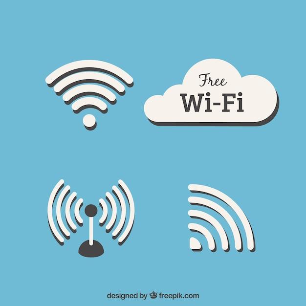Set of wifi symbols in flat design Free Vector