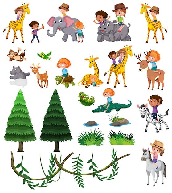 Set of wild animal and children Premium Vector