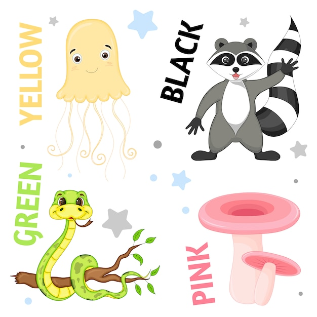 Set of wild animals and insects for children Premium Vector