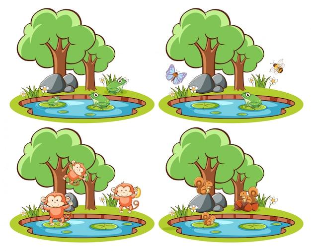 Insieme di animali selvatici nel parco con stagno e albero Vettore gratuito