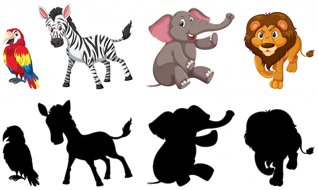 Set of wild animals Premium Vector