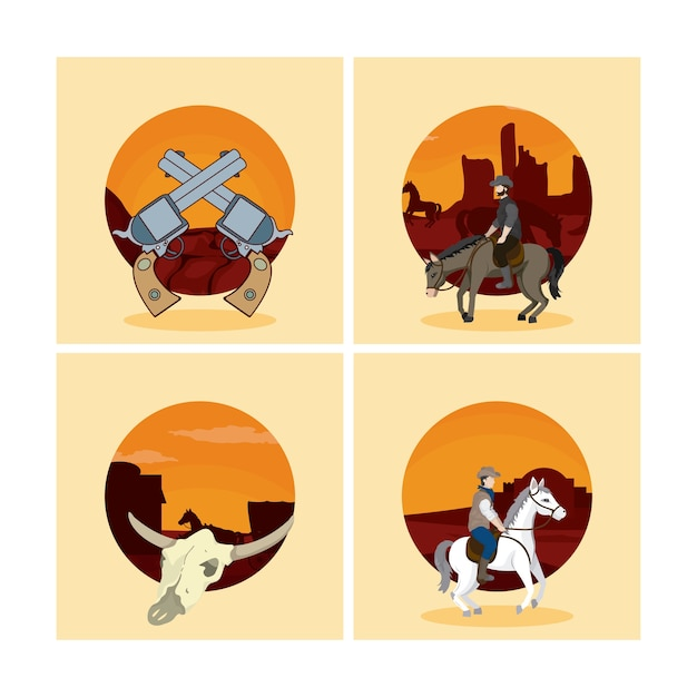 Set of wild west cartoons Premium Vector