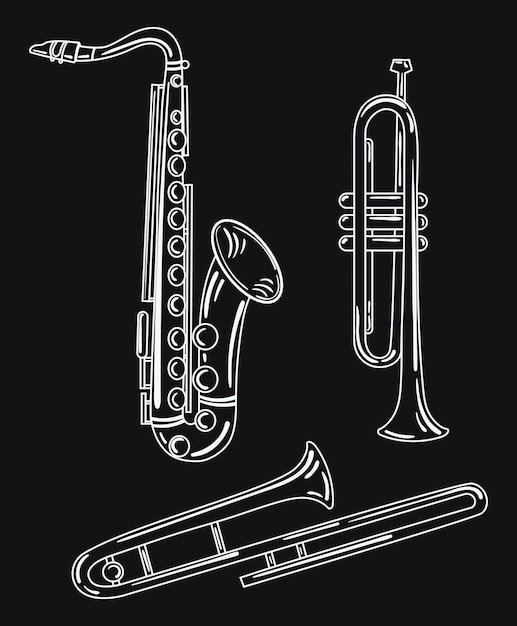 Set of wind musical instruments. collection of musical pipes. brass musical instruments. Premium Vector