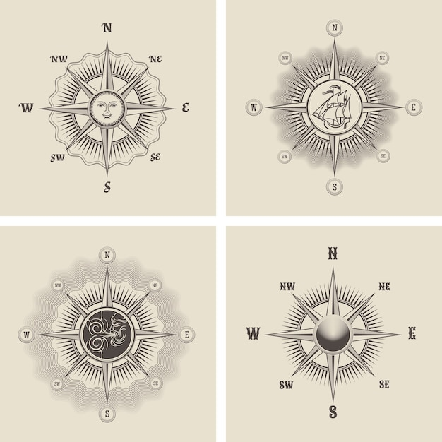 Set the wind rose in old retro style. Free Vector