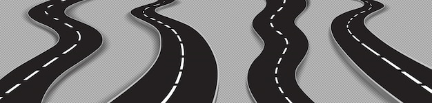Set of winding roads, curved car highways Free Vector