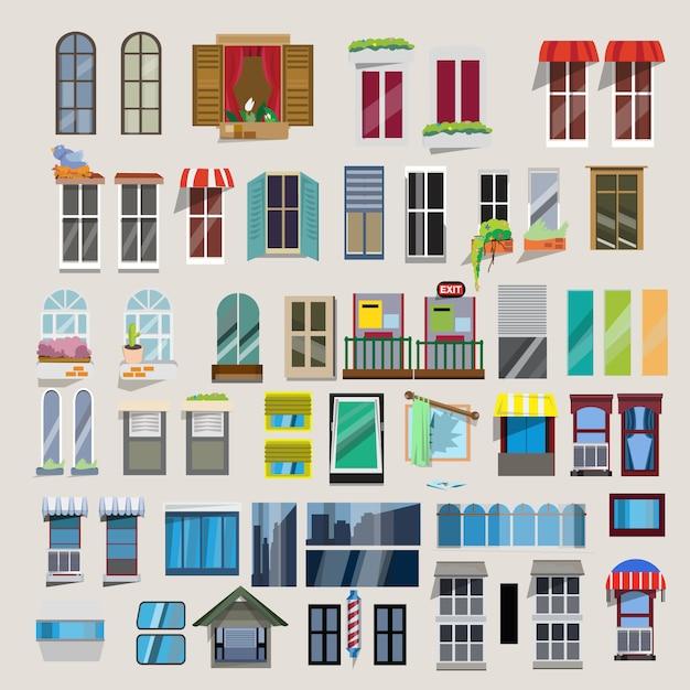 Set of windows. Premium Vector