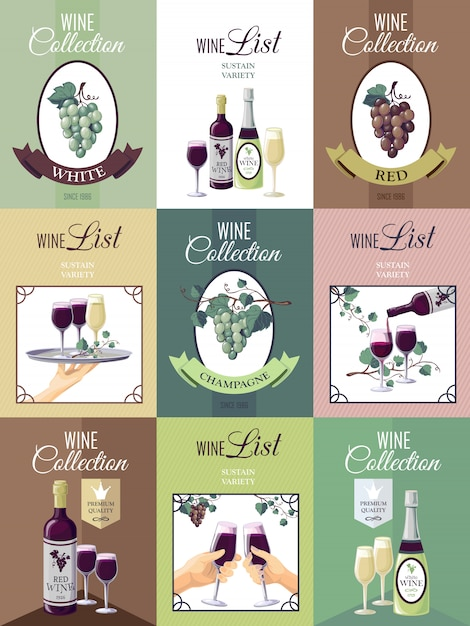 Set of wine menu poster Free Vector