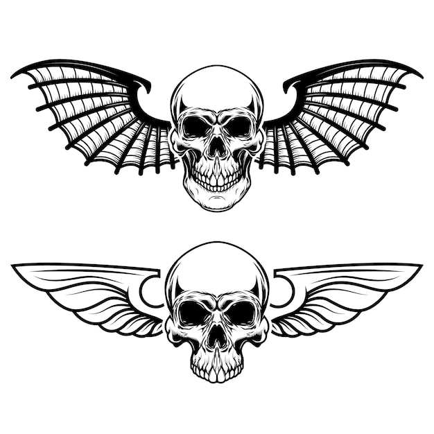 Set of the winged craniums. skull with bat wings.  elements for logo, label, emblem, sign, t shirt.  illustration Premium Vector