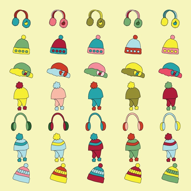 Set of winter apparel clothes icon.  vector illustration Free Vector