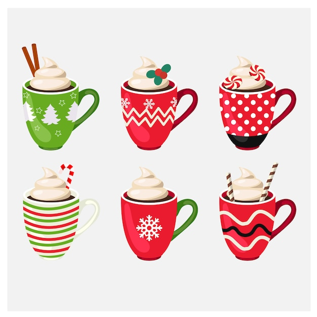 Set of winter holiday christmas cup with hot drink Premium Vector