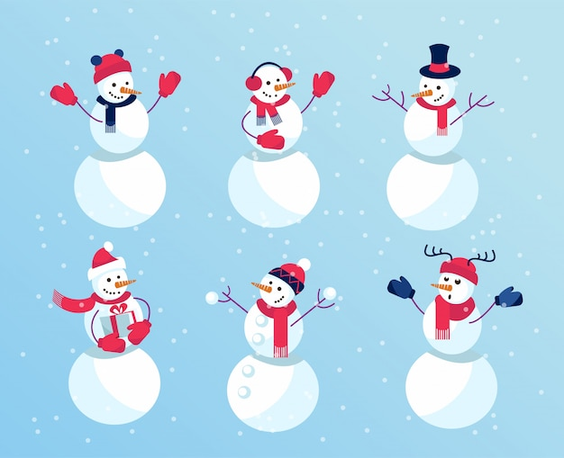 Set of winter holidays funny snowmen. emotional characters in mittens and funny hats. Premium Vector