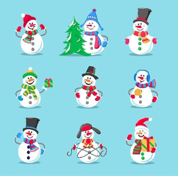 Set of winter holidays snowman Premium Vector
