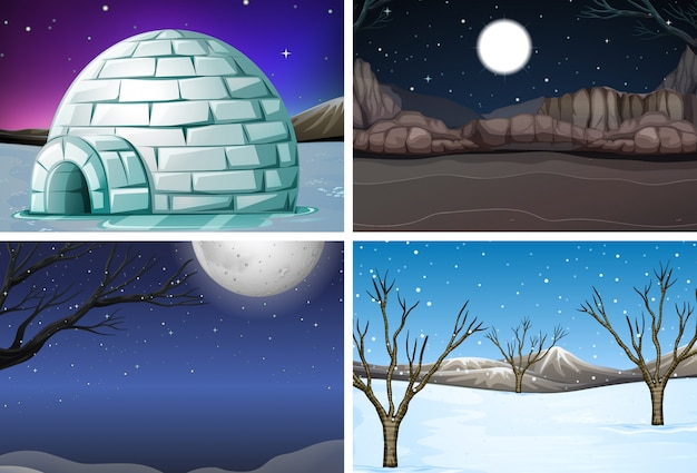 Set of winter night scene Premium Vector