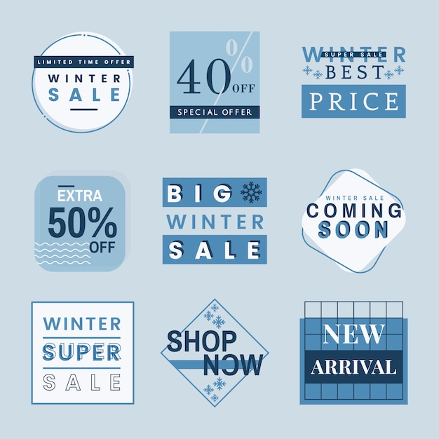 Set of winter sale badge vectors Free Vector