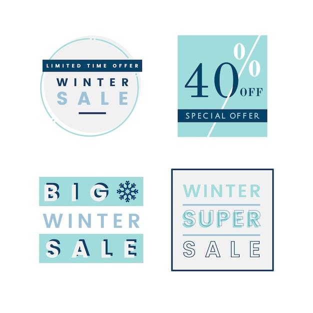 Set of winter sale badge vectors Free Vector